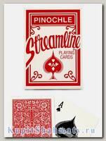 Карты «Streamline pinochle» красные вскрытая упаковка