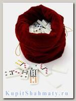Домино 12 цветных точек в красном бархатном мешочке