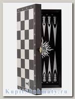 Доска 3 в 1 шахматы, шашки, нарды «Ярославская» чёрная с серебром