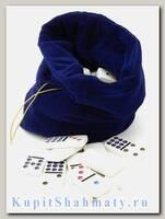 Домино 9 цветных точек в синем бархатном мешочке