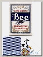 Карты «Bee» Bicycle Jumbo index синие вскрытая упаковка
