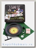 Набор из 5 игр. Покер на костях, рулетка, покер, Блэк Джек, кости.