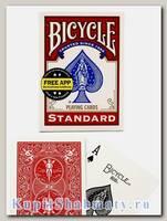 Карты игральные «Bicycle Standard Free App» красные вскрытая упаковка